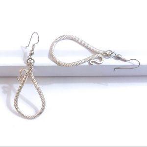Sliver Snake Intricate Loop Dangle Earrings EUC